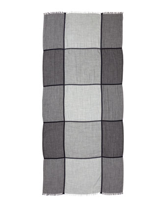Windowpane Cashmere-Blend Scarf, Gray