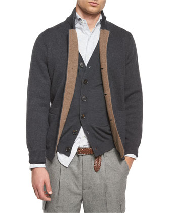 Double-Faced Cashmere Cardigan, Light Brown