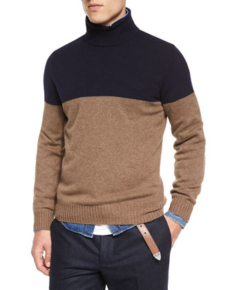 Colorblock Cashmere Turtleneck Knit Sweater, Navy
