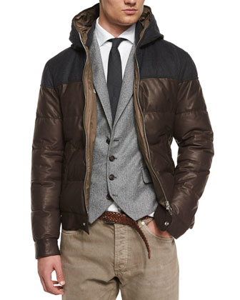 Hooded Leather Parka, Chevron Four-Button Wool Waistcoat & Five-Pocket ...