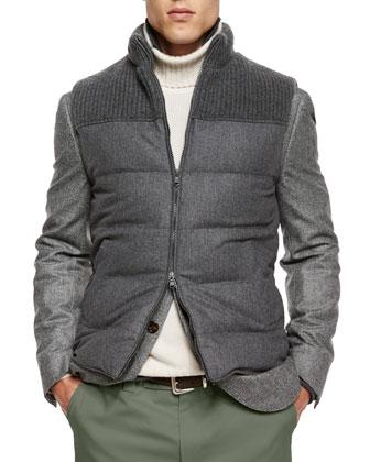 Flannel Zip-Front Vest, Dark Gray