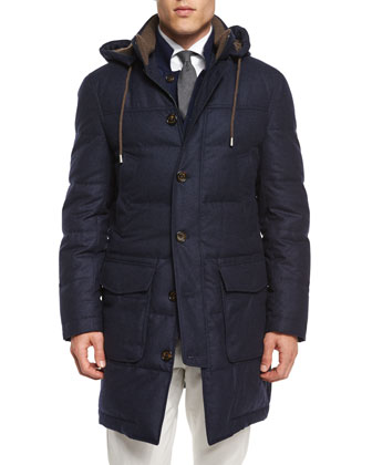 Wool-Blend Long Parka with Removable Hood, Navy