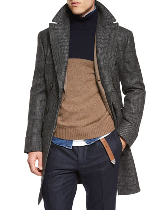 Plaid Double-Breasted Wool Overcoat, Flannel Two-Button Blazer, Colorblock ...