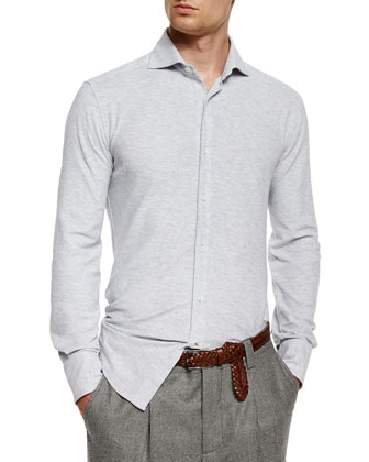 Long-Sleeve Pique Stretch Shirt, Pearl
