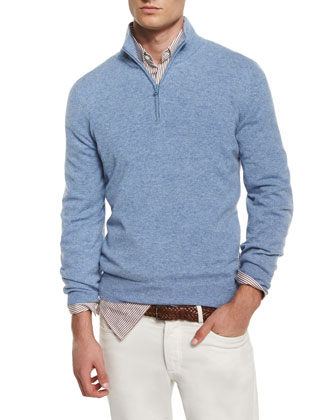 Cashmere Half-Zip Pullover Sweater, Light Blue