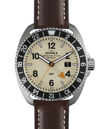 44mm Rambler GMT Watch, Brown/Cream