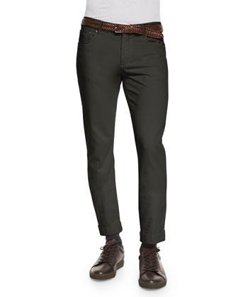 Cashmere-Blend Half-Zip Sweater, Mini-Check Woven Sport Shirt & Five-Pocket ...