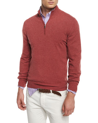 Cashmere-Blend Half-Zip Sweater, Red