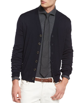 Wool-Blend Button Cardigan, Charcoal