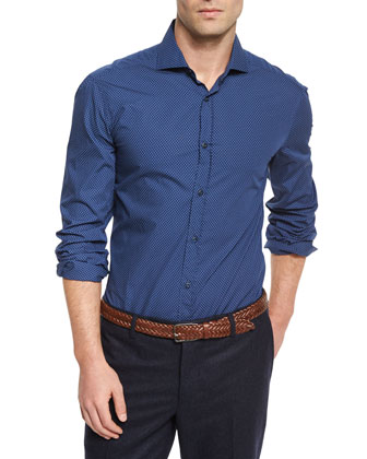 Polka-Dot Print Poplin Sport Shirt & Wool-Blend V-Neck Sweater