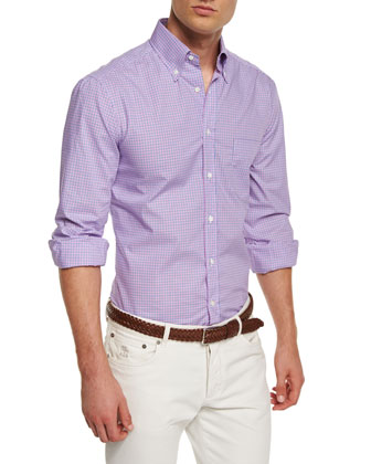 Mini-Check Woven Sport Shirt, Multi