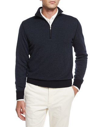 Roadster Cashmere Half-Zip Sweater, Navy