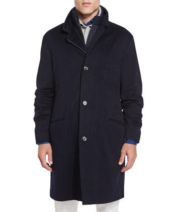 Martingala Cashmere Storm System Coat, Cashmere Mezzocollo Shawl-Collar ...