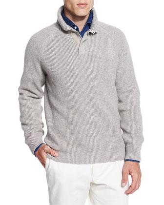 Cashmere Mezzocollo Shawl-Collar Pullover Sweater, Tan