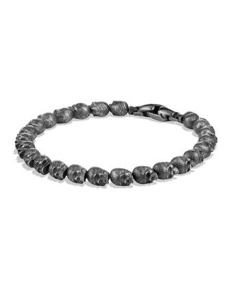 Silver Skull Bead Bracelet