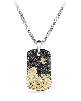 18k Gold Waves & Pave Tag Necklace, Black