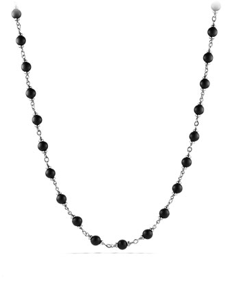 Rosary Bead Necklace with Black Onyx