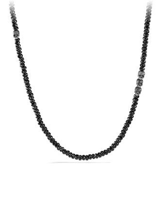 Black Spinel Beaded Necklace with Skulls