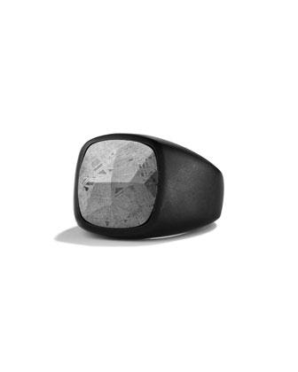 Men's Signet Ring with Meteorite