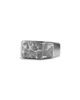 Men's Meteorite Inlay Signet Ring