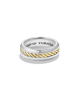 Men's 18k-Gold/Silver Band Ring