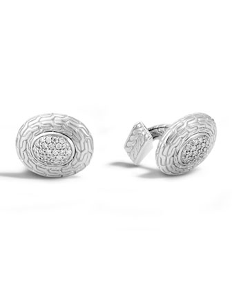 Diamond & Classic Chain Oval Cuff Links