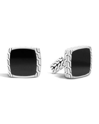 Batu Classic Chain Black Jade & Silver Cuff Links