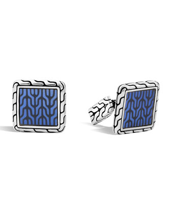 Blue Enamel Square Cuff Links