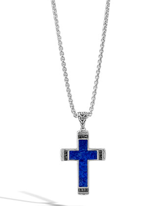 Men's Classic Chain Lapis Cross Pendant Necklace with Black Sapphire
