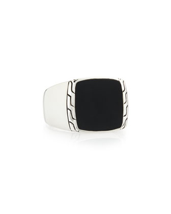 Men's Silver & Black Jade Signet Ring