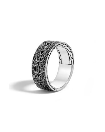Men's Classic Chain Black Lava Sapphire Band Ring