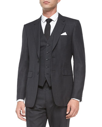 Prince of Wales Three-Piece Suit, Charcoal