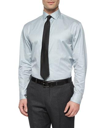 Modern Fit Mini-Bengal Striped Dress Shirt, Slate