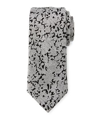 Peony-Print Silk Tie, Silver