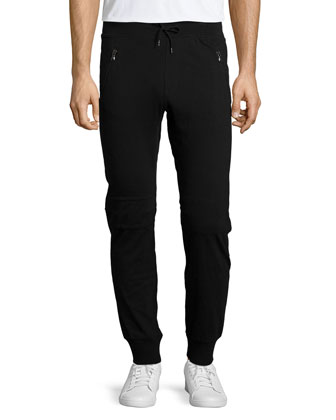 Moto Knit Jogger Pants, Black