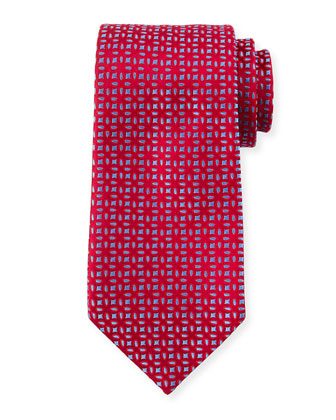 Floral-Pattern Neat Cashmere Tie, Red
