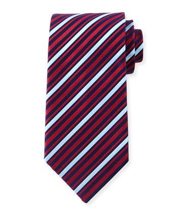 Striped Silk Tie, Red/Blue