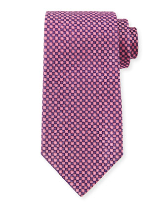 Square-Print Silk Tie, Purple/Pink