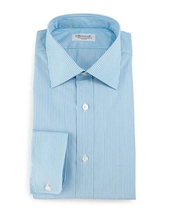 Striped Barrel-Cuff Dress Shirt, Teal