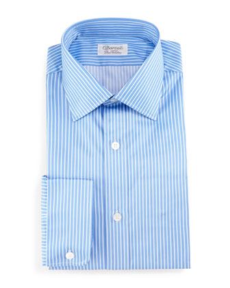 Striped Barrel-Cuff Dress Shirt, Blue