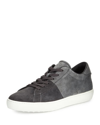 Suede Colorblock Lace-Up Sneaker, Dark Gray/Gray