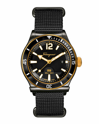 1898 Rotating Bezel Watch, Black/Gold