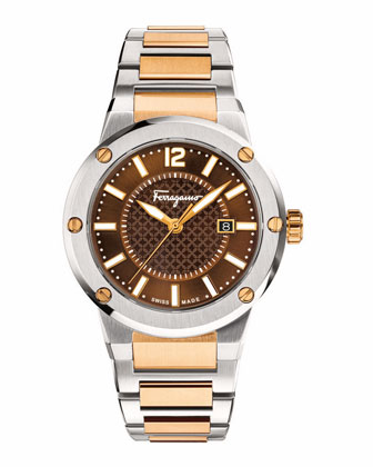 44mm Stainless Steel Watch, Brown/Gold