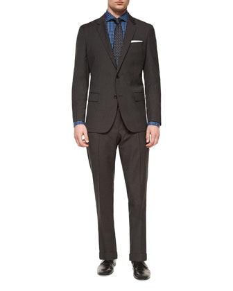 Genius Melange Houndstooth Two-Piece Suit, Dark Brown