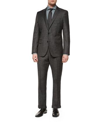 Slim Fit Broken Pindot Two-Piece Suit, Black