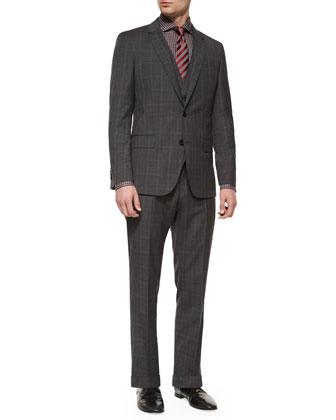 Slim-Fit Plaid Three-Piece Suit, Jaser Slim-Fit Check Dress Shirt & ...