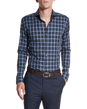 Three-Piece Nailhead Wool Suit, Dwayne Slim-Fit Plaid Dress Shirt & ...