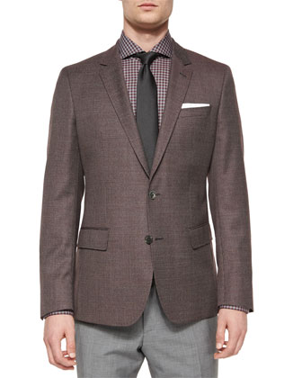 Houndstooth Slim-Fit Sport Coat, Jaser Slim-Fit Check Dress Shirt, Textured ...