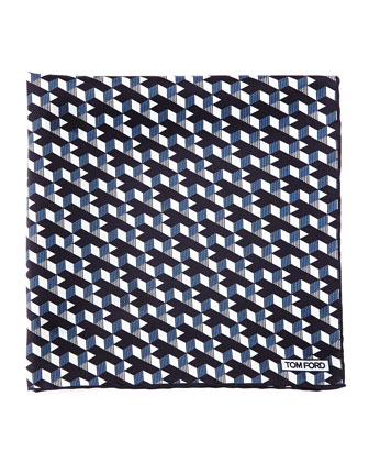 Geo-Print Pocket Square, Blue