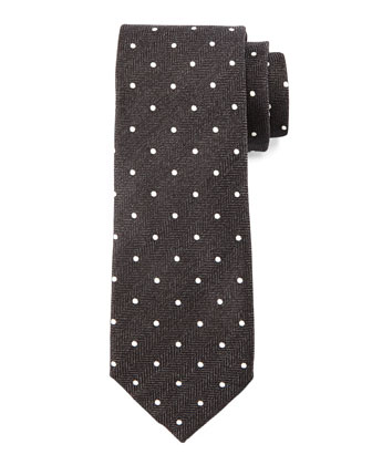 Herringbone-Dot Print Tie, Black